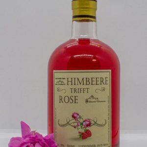 Himbeer Rosenlikör Flasche